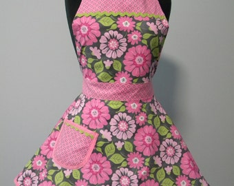 Apron-Pink & Gray Floral Full Apron