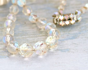 Czech Glass Necklace - Antiqie Clear faceted Beads