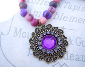 Acai Bead Necklace Rhinestone Pendant Boho Yoga Jewelry