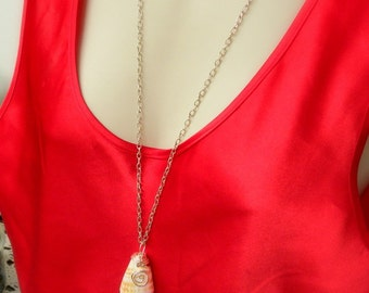 Hawaiian Cone Shell Jewelry, Long Length Sterling Silver Necklace, Beach Themed Pendant