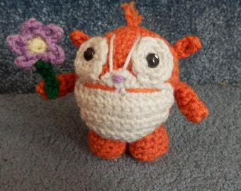 Made to order, Hand crocheted Wallykazam Borgelorp like monster with purple flower  Amigurumi Doll