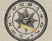 Wheel of the Zodiac Instant Download Digital Image No.166 Iron-On Transfer to Fabric (burlap, linen) Paper Prints (cards, tags)