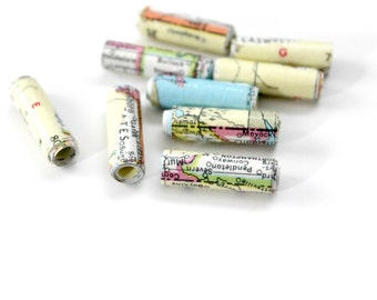 Vintage Map Paper Beads - Handmade Round Bead - Hand Rolled - World Travel Atlas - Wanderlust Recycled Jewelry Making