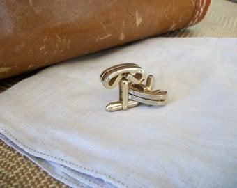 Vintage Mid Century Mens Cuff Links Goldtone Brass