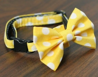 Cat Collar - Yellow Polka Dots - Matching Bow Tie and Flower Available
