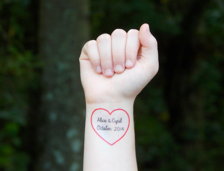 Custom heart temporary tattoo red heart tattoo wedding for Custom temporary tattoo