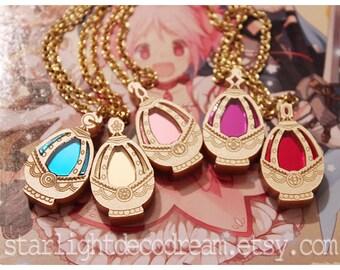 Set of 5 MiNi Puella Magi Madoka Magica MADOKA Fanart Acrylic Soul Gem Necklace or Phone Strap for Cosplay or Mahou Kei