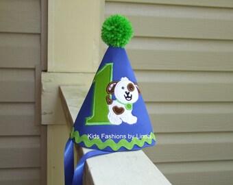Birthday Royal Blue/Lime Green Dog Rick Rack  Pom Pom  Hat