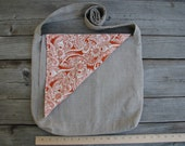 Pleated Messenger Bag with Flap - Natural Linen Exterior, Cotton Paisley  Interior
