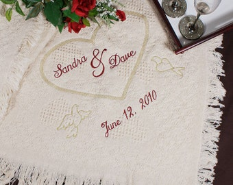 Embroidered Wedding Heart Afghan -gfy83133463