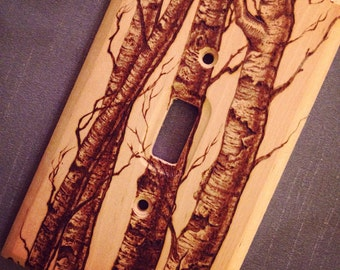 Single Wooden Switch Plate with Wood-Burning Birch Tree Design