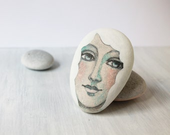 Painted stone. Ready to ship. painted pebble. Beach pebbles art