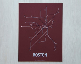 Boston Sm Screen Print - Maroon/Light Blue
