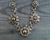 "SALE Victorian German Filigree 16"" Necklace Silver tone"