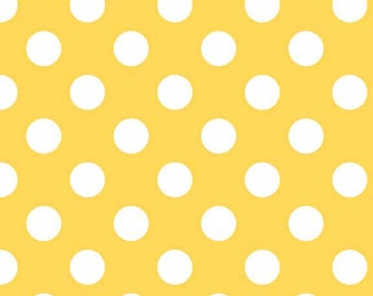 20 x 20 LAMINATED cotton fabric - Medium Yellow Dots (aka oilcloth, vinyl, coated fabric)