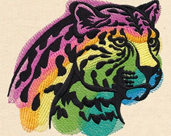 Rainbow Leopard Embroidered Flour Sack Hand/Dish Towel