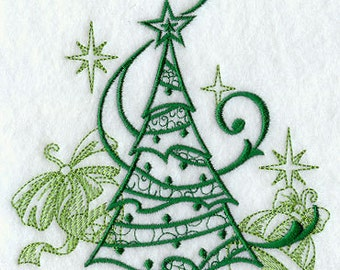 Christmas Tree Echo with Ornaments Embroidered Flour Sack Hand/Dish Towel