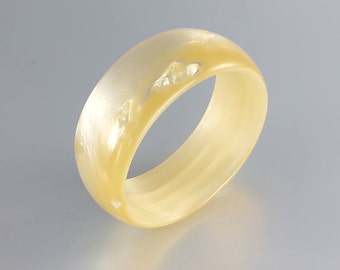 Moonglow Bangle Bracelet, Cream Pearl Lucite Vintage Mod Thick Bangle jewelry