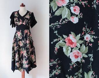 Vintage Dress - Black 1980's Dress with Floral Print - Jean Paul - Size XS