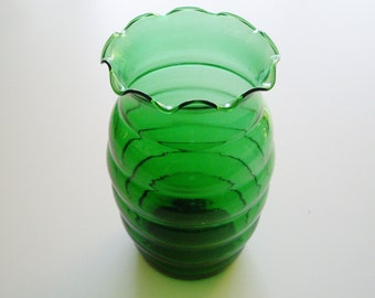 Vintage Emerald or Forest Green Vase - Anchor Hocking