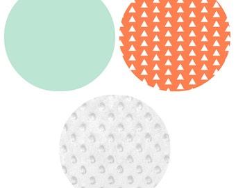 Crib Bedding Set - 4 Piece Set - Crib Bumper, Fitted Crib Sheet, Crib Skirt, Changing Pad Cover - Coral, Mint, White