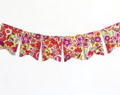 Floral Ikat Flags, Paper Bunting Banner, Bright Home Decor, Dorm Room Decoration, Photography Prop Garland, Paper Flower Hanging