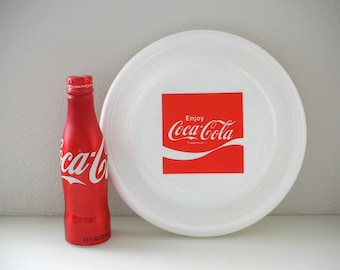 1975 WHAM-O Frisbee Coca Cola Logo 1975 Advertising Red and White Coca Cola Soft Drink Collectible Flying Disc Outdoor Toy
