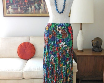 Tropical Broom Skirt 4 Tier OOAK Custom Vintage Silver Tip Originals Broom Stick Skirt Tier Summer Skirt  Hawaiian Print Floral Print Skirt