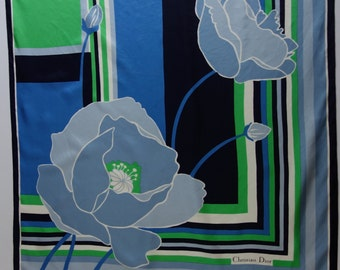 CHRISTIAN DIOR 60s Flowers and Stripes Silk Scarf