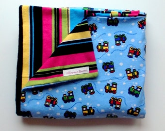 Choo Choo Train and Stripes Baby Blanket, Large and  Doublesided