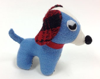 Cute Plush Blue Dog Toy Stuffed Animal Dog Upcycled wool Palm size toy
