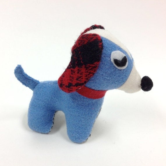 cute plush blue dog toy stuffed animal dog upcycled wool palm. Black Bedroom Furniture Sets. Home Design Ideas