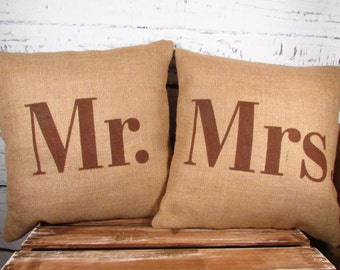 """Burlap Mr and Mrs pillows - 14"""" -  handpainted in chocolate brown or color of your choice"""