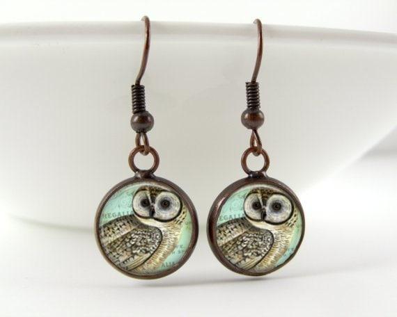 Owl Dangle Earrings - Woodland Bird Creature Art Photo in Gray Blue Nature Inspired Earrings