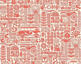 Ipanema - Main Coral by Dennis Bennett - Organic Cotton Fabric from Birch Organic Fabric