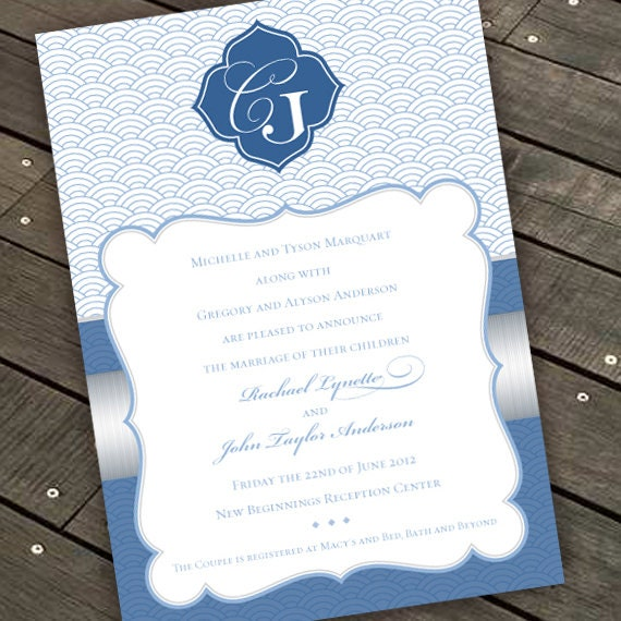 wedding invitations, coastal blue and silver wedding invitations, blue and silver invitations, silver and blue wedding invitations, IN286.1
