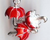 ONE - Silver Plated Enamel Charm. 3D UMBRELLA. Red.