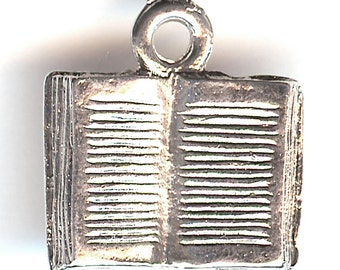ONE - Sterling Silver Plated Pewter Charm. 3D Open Book. Made in the USA.