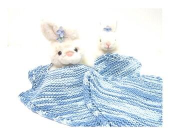 Baby pullover bib & washcloth set denim blue hand knit organic denim blues cotton baby gift
