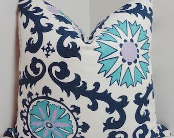 Navy Blue Purple Suzani Print Pillow Cover Throw Pillows Decorative Pillow All Sizes