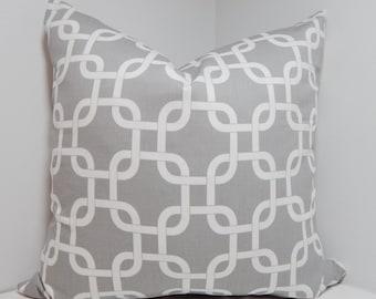 Grey & White Geometric Pillow Cover Grey Geometric Print Decorative Pillow All Sizes