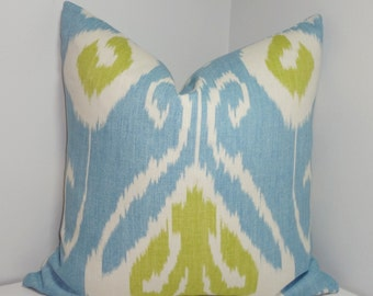 Kravet Bansuri Capri Ikat Pillow Cover Blue Green White Decorative Linen Ikat Pillow Cover Choose Size