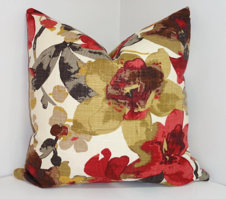 Burgundy Print Throw Pillows : Burgundy Tan Grey Foral Print Pillow Covers Decorative Throw