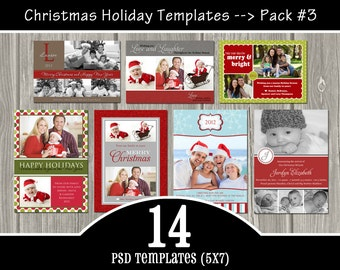 INSTANT DOWNLOAD - 14 Holiday Templates Pack 3 - PSD Christmas Templates