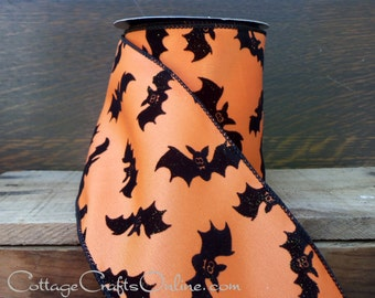 "CLRATANCE! Halloween Wired Ribbon, 4""  Flocked, Glittered Black Bats on Orange - THREE YARDS - d. stevens ""Bats"" Wire Edged Ribbon"