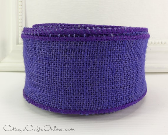 "Burlap Wired Ribbon, 2 1/2"" wide Purple - TEN YARD Roll - Offray Natural Jute Halloween, Mardi Gras, Craft Wire Edged Ribbon"