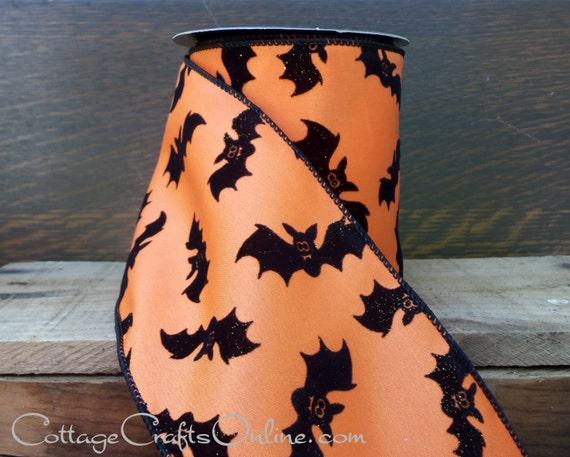 "Halloween Wired Ribbon, 4""  Flocked, Glittered Black Bats on Orange - THREE YARDS - d. stevens ""Bats"" Craft Wire Edged Ribbon"
