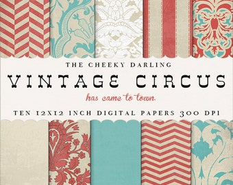 Digital Background Pattern Paper: Vintage Circus ( retro carnival red blue with texture)
