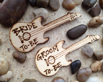 Bride-to-be and Groom- to-be Electric Guitar Pins Perfect for Rehearsal Dinner Bachelor Party Bachelorette Party