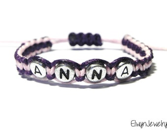 Little Girl Name Bracelet, Kid Bracelet, Flower Girl Jewelry, Personalized Cord Bracelet, Kids Jewelry, Girls Jewelry, Child Bracelet